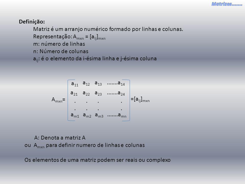 Definição: Matriz é um arranjo numérico formado por linhas e colunas. Representação: Amxn = [aij]mxn.